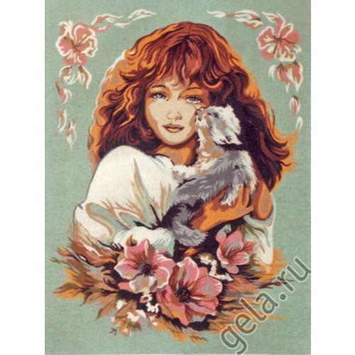 """Канва/ткань с нанесенным рисунком Diamant """"Девушка с кошкой"""" (фото, вид 1)"""