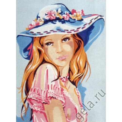 """Канва/ткань с нанесенным рисунком Diamant """"Девушка в голубой шляпке"""" (фото, вид 1)"""