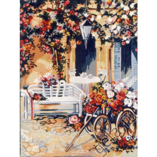 """Канва/ткань с нанесенным рисунком Gobelin-L """"Повозка цветочницы"""" (фото, вид 1)"""