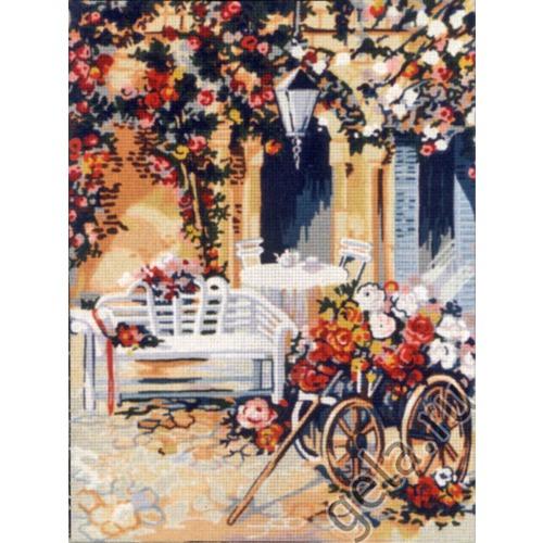 """Канва с нанесенным рисунком Gobelin-L """"Повозка цветочницы"""" (фото, вид 1)"""