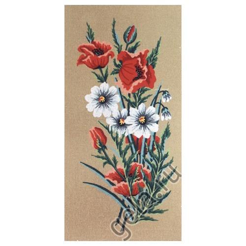 """Канва/ткань с нанесенным рисунком Gobelin-L """"Маки и ромашки"""" (фото, вид 1)"""