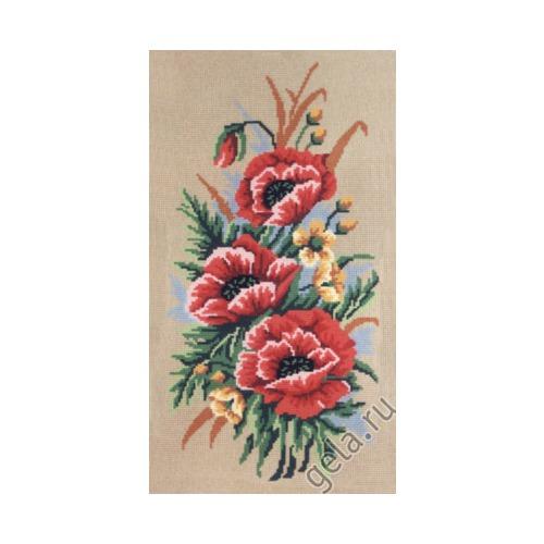 """Канва/ткань с нанесенным рисунком Gobelin-L """"Маки"""" (фото, вид 1)"""