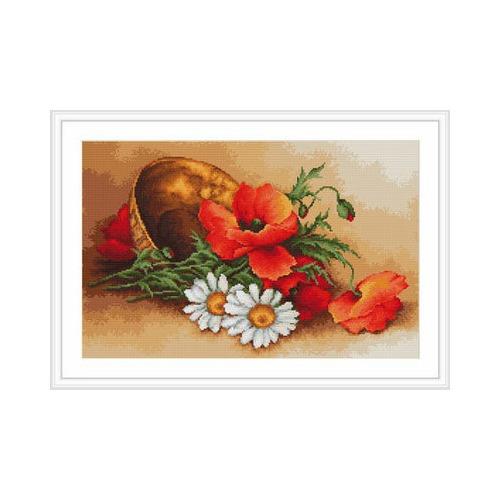"""Набор для вышивания крестом Luca-S """"Ваза с маками и ромашками"""" (фото, вид 1)"""