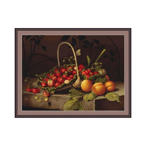 """Набор для вышивания крестом Luca-S """"Корзина с клубникой и персиками"""" (фото, вид 1)"""