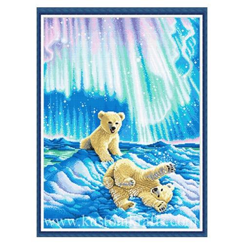 """Набор для вышивания крестом Kustom Krafts Inc. """"Медвежата в северном сиянии """" (фото, вид 1)"""