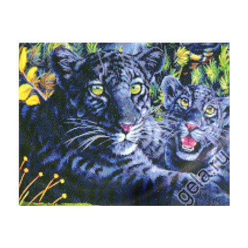 """Набор для вышивания крестом Kustom Krafts Inc. """"Черная пантера с детенышем"""" (фото, вид 1)"""