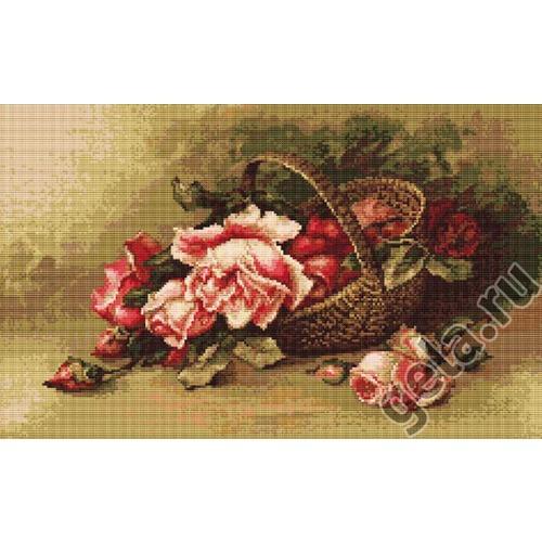 """Набор для вышивания крестом Luca-S """"Корзина с розами"""" (фото, вид 1)"""