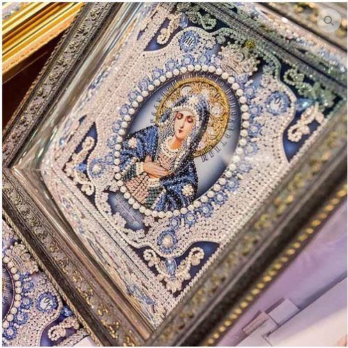"""Набор для вышивания хрустальными бусинами Образа в каменьях """"Богородица Умиление (натуральный жемчуг)"""" (фото, вид 1)"""
