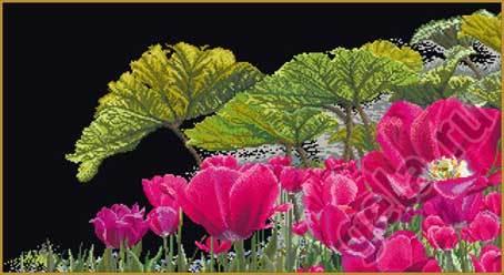 """Набор для вышивания крестом Thea Gouverneur """"Тюльпаны в саду"""" (фото, вид 1)"""