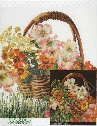 """Набор для вышивания крестом Thea Gouverneur """"Корзина цветов"""" (фото, вид 1)"""