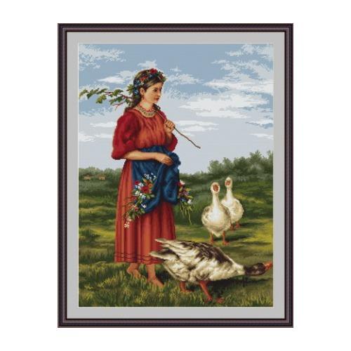 """Набор для вышивания крестом Luca-S """"Девочка с гусями (Маковский)"""" (фото, вид 1)"""