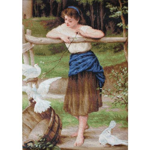 """Набор для вышивания крестом Luca-S """"Девушка дразнящая голубей"""" (фото, вид 1)"""