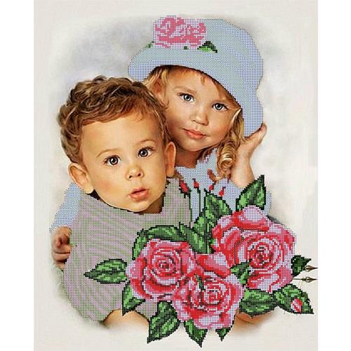 """Ткань с рисунком для вышивки бисером Глурия (Астрея) """"Дети"""""""