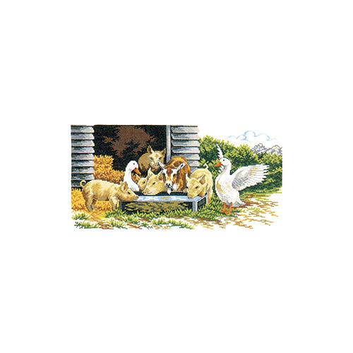 """Набор для вышивания крестом Eva Rosenstand """"Поросята и гуси"""""""