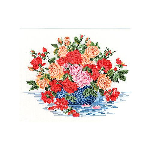 """Набор для вышивания крестом Eva Rosenstand """"Розы в синем шаре"""""""