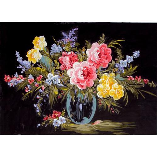 """Канва с нанесенным рисунком Gobelin-L """"Букет в стеклянной вазе"""""""