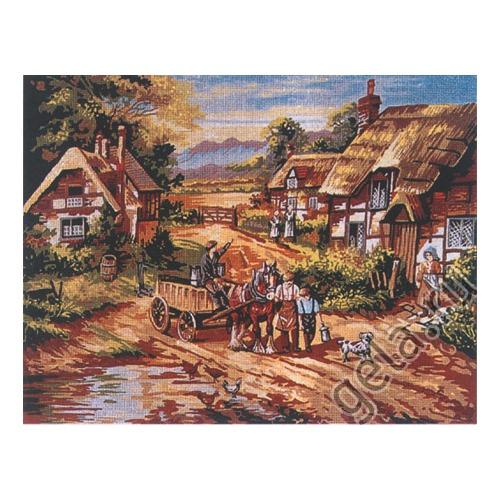"""Канва с нанесенным рисунком Gobelin-L """"Село"""""""