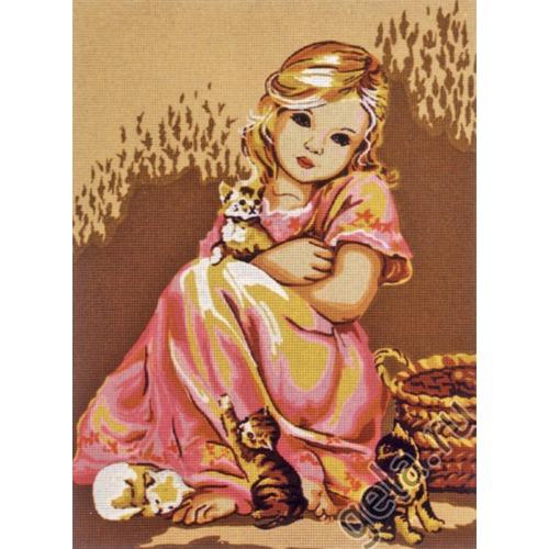 """Канва с нанесенным рисунком Diamant """"Малышка в розовом и котята"""""""