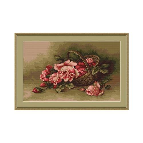 """Набор для вышивания крестом Luca-S """"Корзина с розами"""" (фото)"""