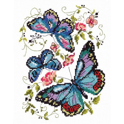 """Набор для вышивания крестом Чудесная игла """"Синие бабочки"""""""