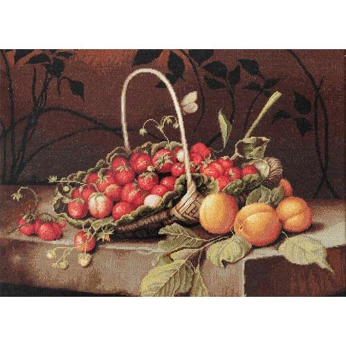 """Набор для вышивания крестом Luca-S """"Корзина с клубникой и персиками"""" (фото)"""