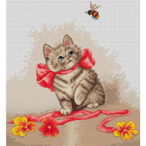 """Набор для вышивания крестом Luca-S """"Кошечка с лентами"""""""