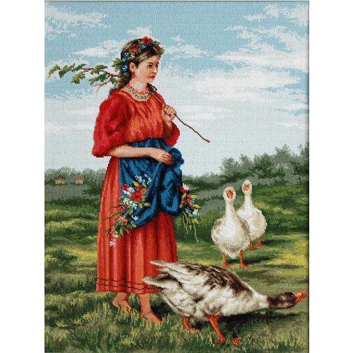 """Набор для вышивания крестом Luca-S """"Девочка с гусями (Маковский)"""" (фото)"""