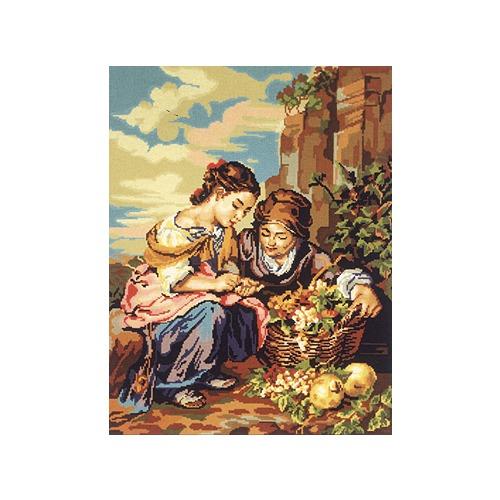 """Канва с нанесенным рисунком Gobelin-L """"Девушки с корзиной винограда"""""""