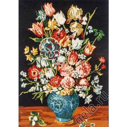 """Канва с нанесенным рисунком Gobelin-L """"Букет в синей вазе"""""""
