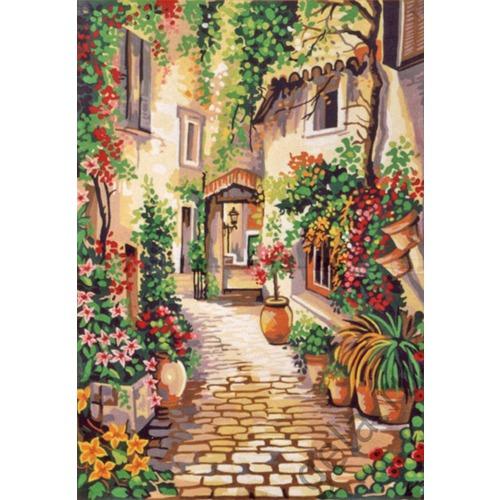 """Канва с нанесенным рисунком Gobelin-L """"Цветущий дворик"""""""