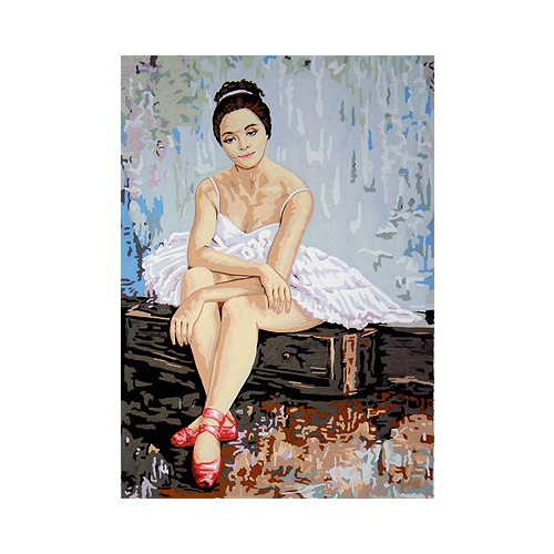 "Канва с нанесенным рисунком Gobelin-L ""Балерина в красных пуантах"""