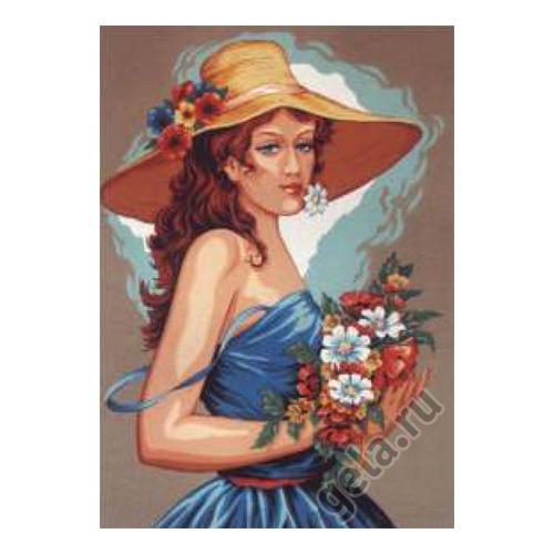 """Канва с нанесенным рисунком Diamant """"Девушка в голубом"""""""
