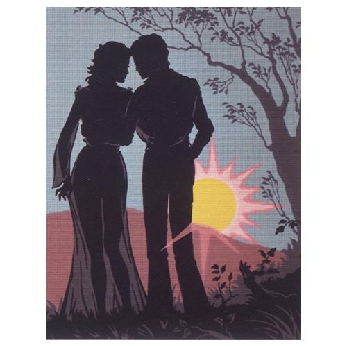 """Канва с нанесенным рисунком Diamant """"Пара, силуэт на утренней заре """""""