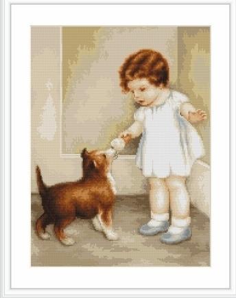 """Набор для вышивания крестом Luca-S """"Девочка с собакой"""""""