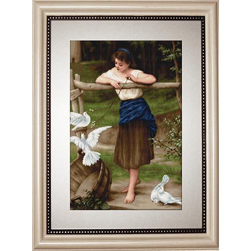 """Набор для вышивания крестом Luca-S """"Девушка дразнящая голубей"""" (фото)"""