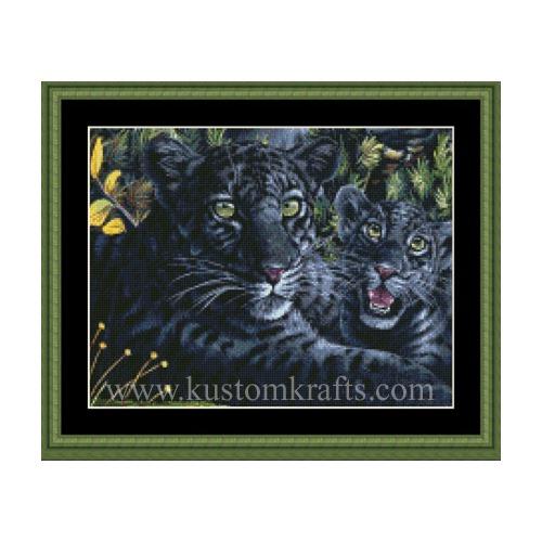 """Набор для вышивания крестом Kustom Krafts Inc. """"Черная пантера с детенышем"""" (фото)"""