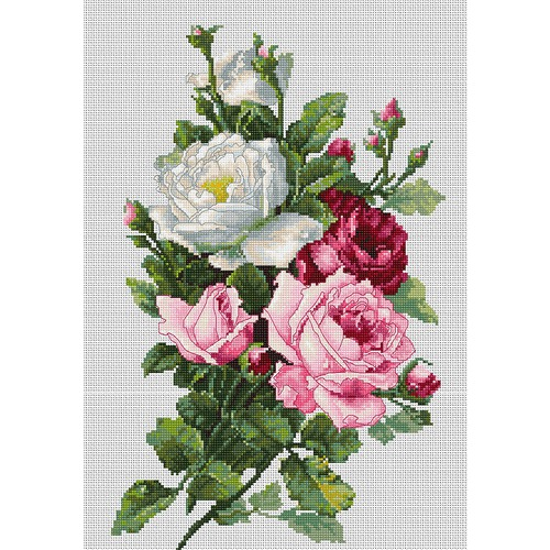 """Набор для вышивания крестом Luca-S """"Букет с розами"""""""