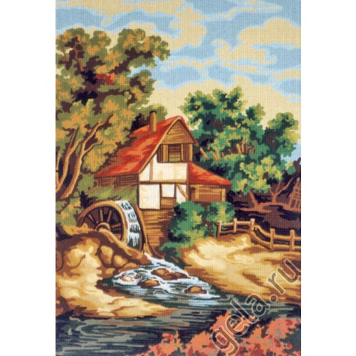 """Канва/ткань с нанесенным рисунком Gobelin-L """"Вид на мельницу"""""""