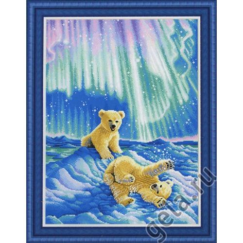 """Набор для вышивания крестом Kustom Krafts Inc. """"Медвежата в северном сиянии """" (фото)"""