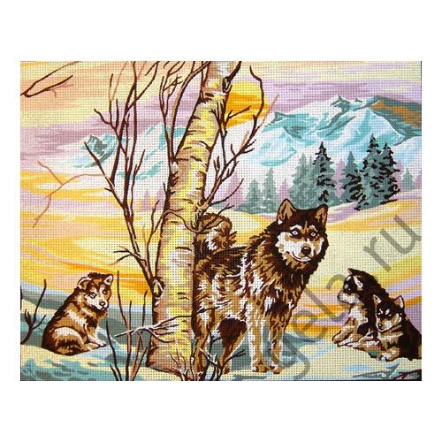 "Канва с нанесенным рисунком Gobelin-L ""Волчата зимой"""