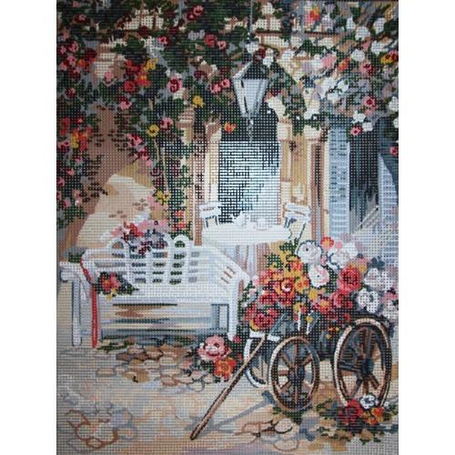 """Канва/ткань с нанесенным рисунком Gobelin-L """"Повозка цветочницы"""" (фото)"""
