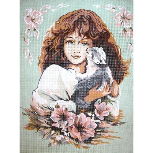 """Канва/ткань с нанесенным рисунком Diamant """"Девушка с кошкой"""" (фото)"""
