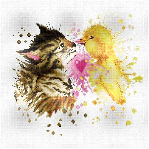 """Набор для вышивания крестом Luca-S """"Кот с утенком"""" (фото)"""