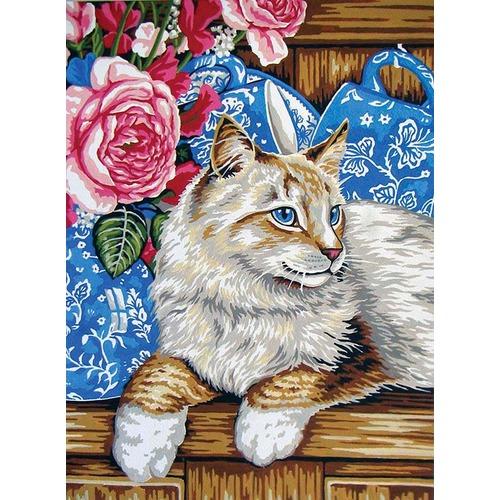 """Канва/ткань с нанесенным рисунком Grafitec """"Кот на полке"""""""