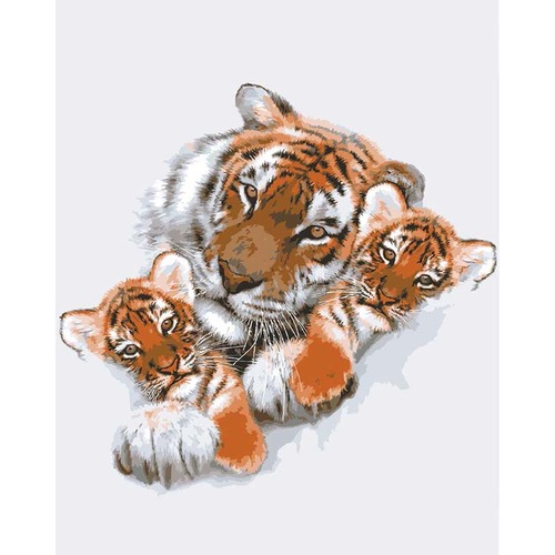 "Канва/ткань с нанесенным рисунком Grafitec ""Тигрица с тигрятами"""