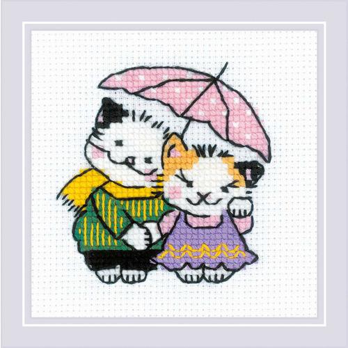 """Набор для вышивания крестом Риолис """"Котомания. Двое под дождем"""" (фото)"""