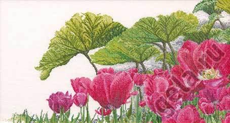 """Набор для вышивания крестом Thea Gouverneur """"Тюльпаны в саду"""" (фото)"""