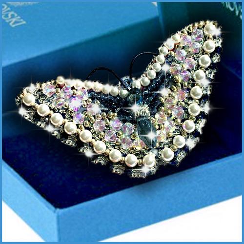 """Набор для вышивания хрустальными бусинами Образа в каменьях """"Бабочка Монтана"""" с кристаллами"""