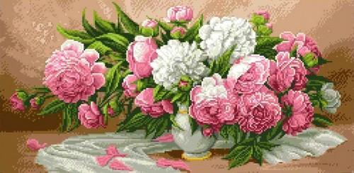 """Канва/ткань с нанесенным рисунком Каролинка """"Пионы в вазе"""""""