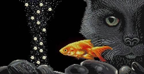 """Канва/ткань с нанесенным рисунком Конёк """"Кот и золотая рыбка"""""""